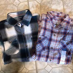 Other - 2 boys button up medium long sleeve shirts